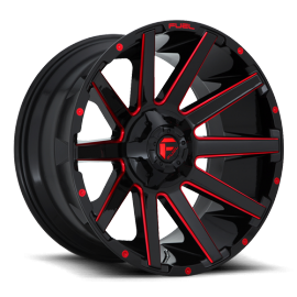 """JANTE FUEL 4X4 CONTRA - D643 Gloss Black w/ Candy Red 20/22/24"""""""