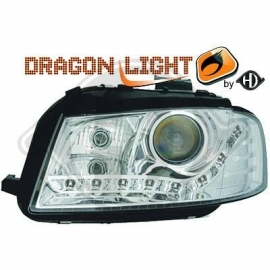 OPTIQUES AV CHROME LED AUDI A3 2003/2008
