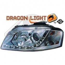 OPTIQUES AVANT CHROME LED AUDI A3 2003/2008