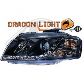 OPTIQUE AVANT BLACK LED AUDI A3 2003/2008