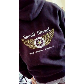 SWEAT NOIR CAPUCHE BRODERIE SPEED WHEEL
