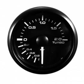 Jauge manomètre de pression de suralimentation Turbo Compteur avec sonde, Ø52mm LED réglable Blanche / Jaune vitre bombé -
