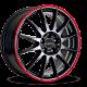 "JANTE RONAL R54 MCR  JET BLACK BORD ROUGE 15/16/17/18"""