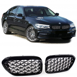 Grille Sport Kidney Exclusive Optic Noir Chrome pour BMW Série 5 G30 G38 à partir de 16