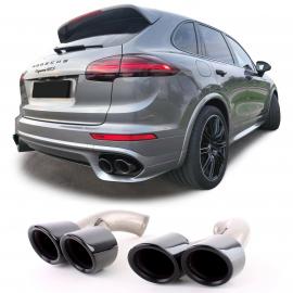 Tubulure d'échappement double tube GTS optics noir pour Porsche Cayenne 92A Facelift 14-17