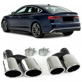 Tubulure d'échappement sport 4 paires de cache-tuyaux en acier inoxydable pour Audi A5 8T à partir de 11