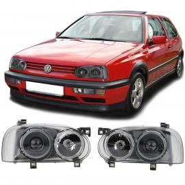 Projecteur Double avec Fibre Crosshair Noire pour VW Golf 3 91-97