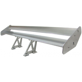 Spoiler arrière en aluminium à double aile arrière argent pour la course