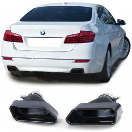 Sorties d'échappement inox 8 cyl look noir pour BMW Série 5 F10 F11 Série 6 F12 F13