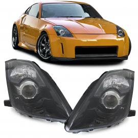 Paire de phares Xenon Facelift D2S noirs pour Nissan 350Z Z33 02-09